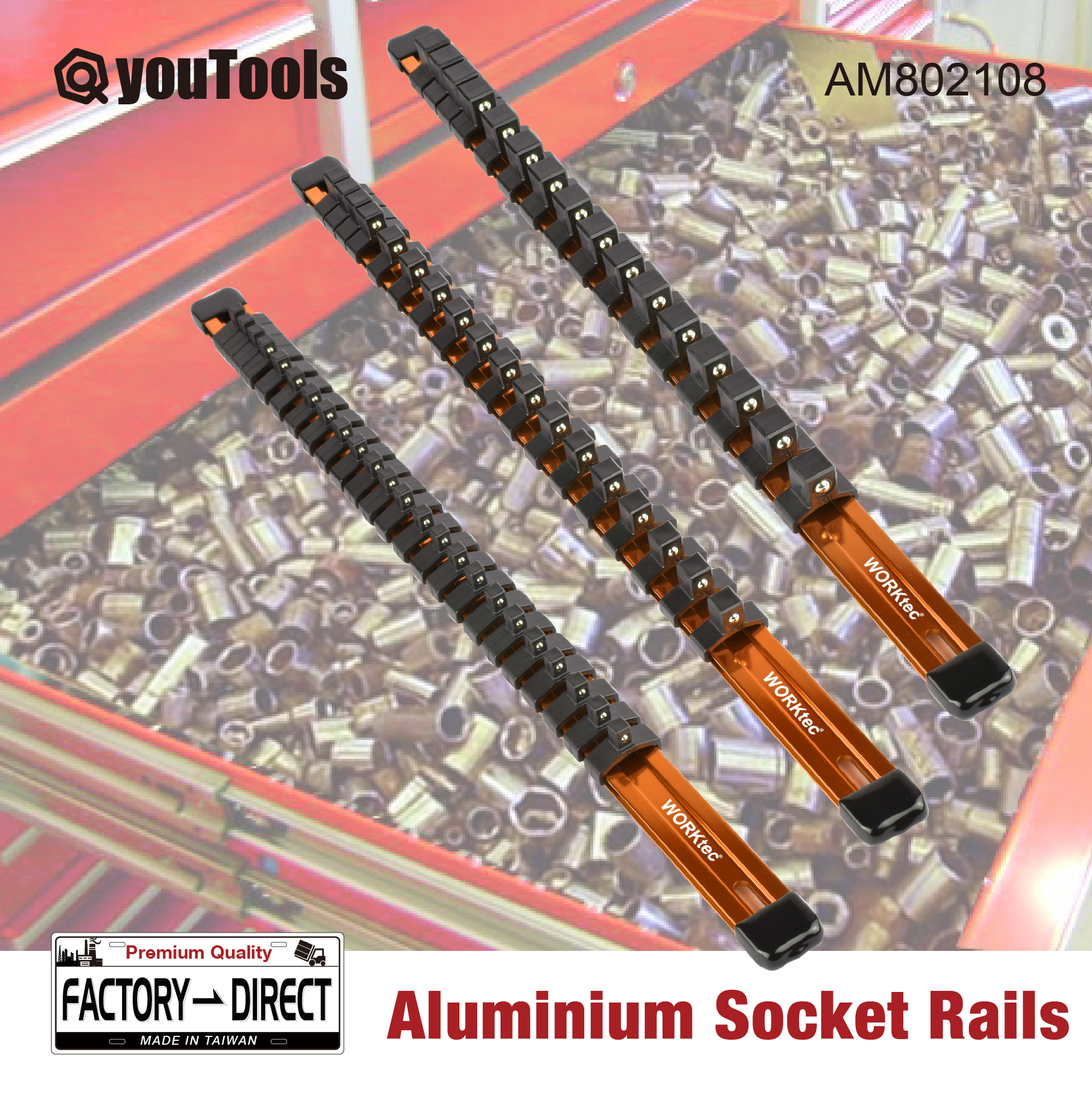 3//8in 1//4in ABN Orange Aluminum SAE Socket Holder Rail 3pc Set 1//2in Tool Socket Organizer Rails with Clips